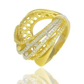 Золота каблучка з куб цирконієм (54160)
