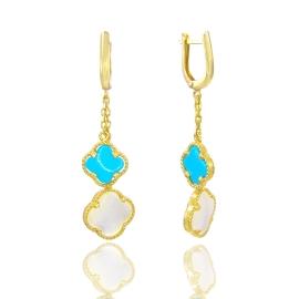Золоті сережки з бірюзой та перламутром (3487)