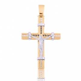 Золотой крест с куб. цирконием (П0302)