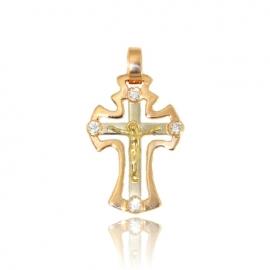 Золотой крестик с куб. цирконием (П0629)