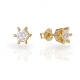 Золотые серьги с куб. цирконием (С0488)