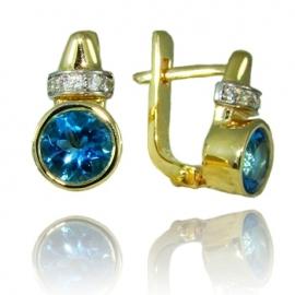 Золотые серьги с топазом (С1041)