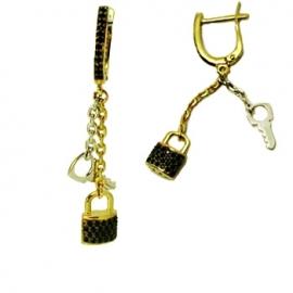 Золотые серьги с шпинелью (С0472)