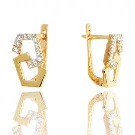 Золотые серьги с куб. цирконием (С0966)