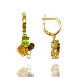 Золотые серьги с кварцем (С0896)