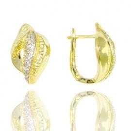 Золотые серьги с куб. цирконием (С0981)