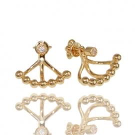 Золотые серьги с куб. цирконием (С1005)