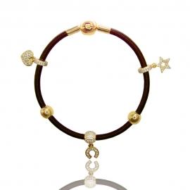 Кожаный браслет с золотыми вставками (БТ0286)