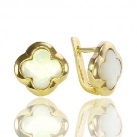 Золотые серьги с перламутром (С0994