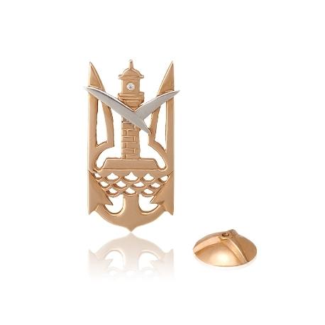 Золотой значек тризубец с куб. цирконием (З0085)