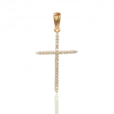 Золотой крестик с куб. цирконием (П0358)