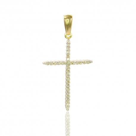 Золотой крестик с бриллиантами (П0358)