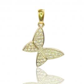 Золотой кулон Бабочка с куб. цирконием (П0362)