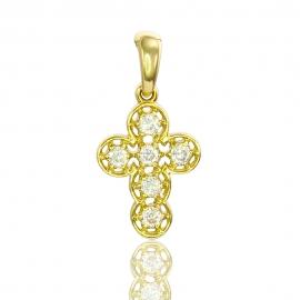 Золотой крестик с куб. цирконием (П0367)