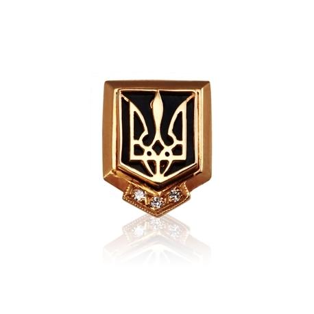 Золотой значек тризубец с куб. цирконием (З0083)