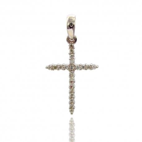 Золотой крестик с бриллиантами (П0374)