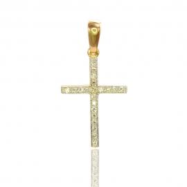 Золотой крестик с бриллиантами (П0463)
