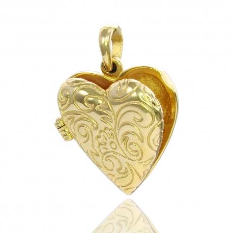 Золотой открывающийся кулон Сердце (П0555)