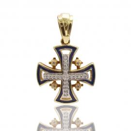 Золотой крестик с эмалью и куб. цирконием (П0560)