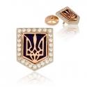 Золотой значек тризубец с ювелирной эмалью (З0084)