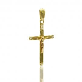 Золотой крестик скуб. цирконием (П0684)