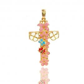 Золотой крестик с эмалью (П0690)