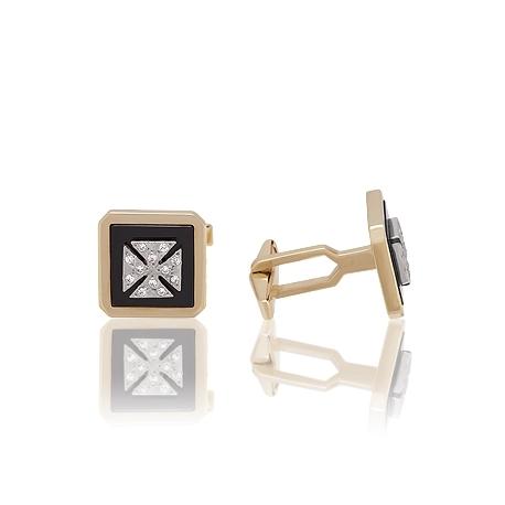 Золотые запонки с фианитом (З0167)