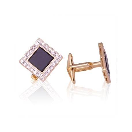 Золотые запонки с фианитом (З0172)