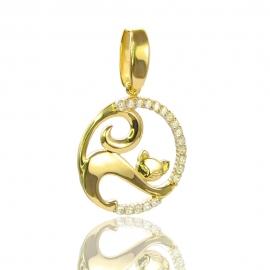 Золотой кулон Кошка с куб. цирконием (П0835)