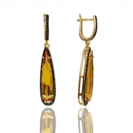 Золотые серьги с цитрином (С0534)