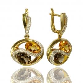 Золотые серьги с кварцем и цитрином (С0597)
