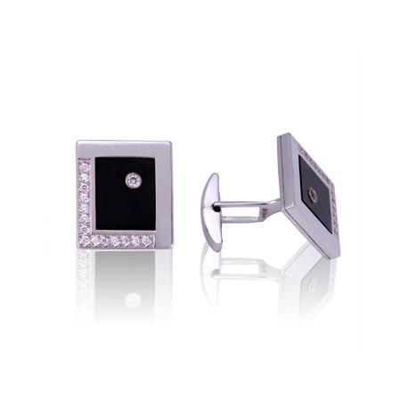 Золотые запонки с куб. цирконием (З0183)