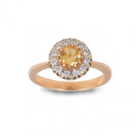 Золотое кольцо с цитрином (К0176)