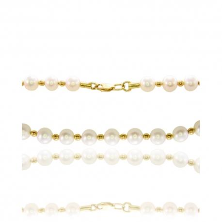 Жемчужное колье с золотыми вставками (КЛ0133)