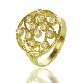 Золотое кольцо с куб. цирконием (К0686)