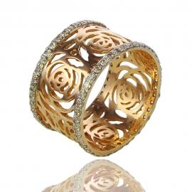 Золотое кольцо Роза с куб. цирконием (К0817)