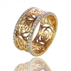 Золотое кольцо Роза с куб. цирконием (К0809)