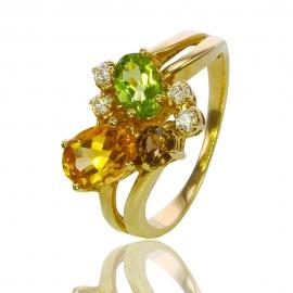 Золотое кольцо с самоцвктами (К1080)