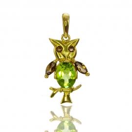 Золотой кулон Сова с хризолитом (П0623)