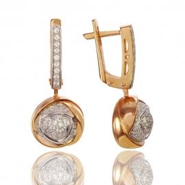 Золотые серьги с куб.цирконием (С0246)