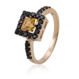 Золотое кольцо с цитрином (К0200)