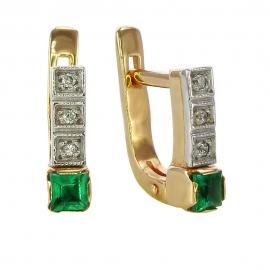 Золотые серьги с бриллиантом и изумрудом (С0804)