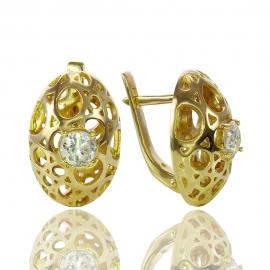 Золотые серьги с куб. цирконием (С0939)