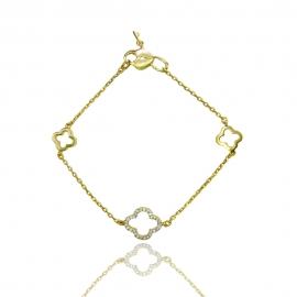 """Золотой браслет """"Клевер"""" с куб. цирконием (БТ0312)"""